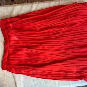 Banana republic red pleated midi skirt - red